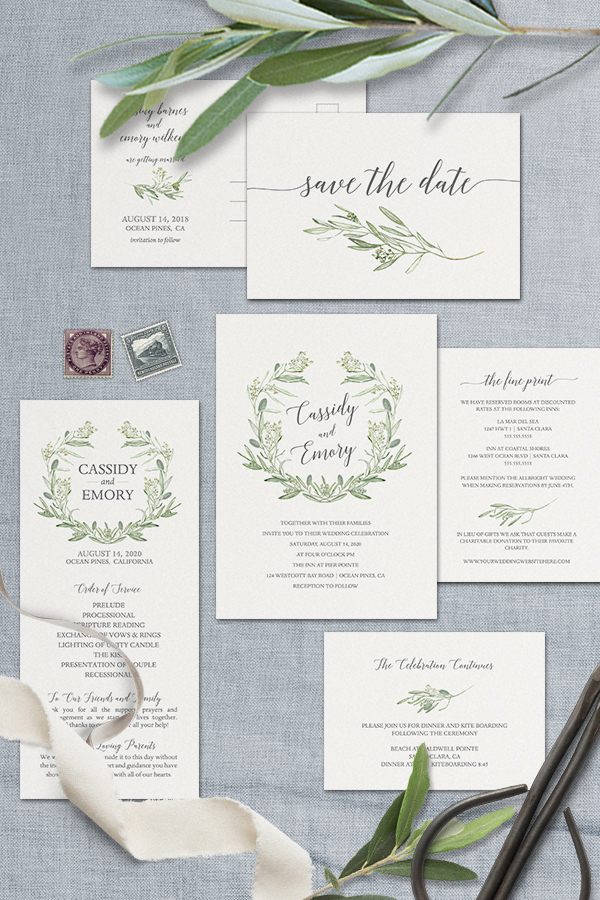Watercolor Wreath Greenery Wedding Invitations