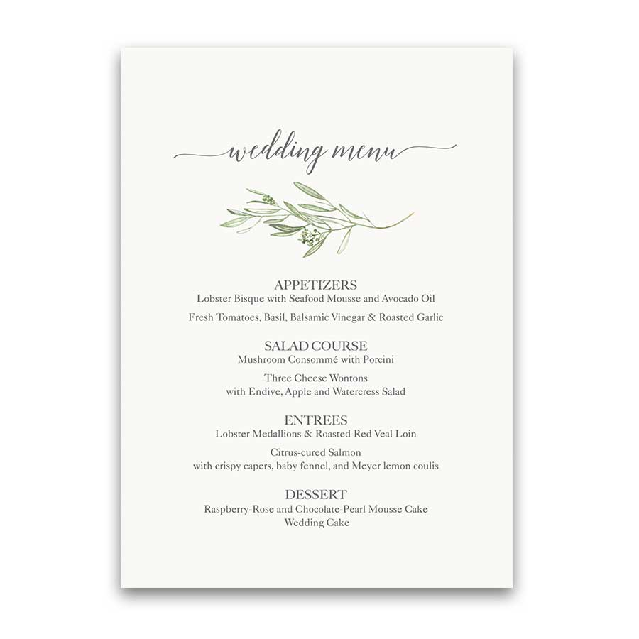 Greenery Vineyard Wedding Menu Template Olive Sprigs