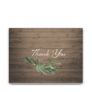 Rustic Wood and Greenery Wedding Thank You Notes