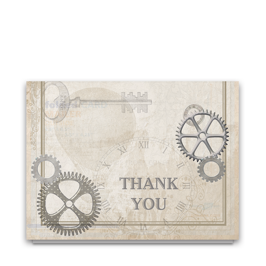 Steampunk Wedding Industrial Style Thank You Card