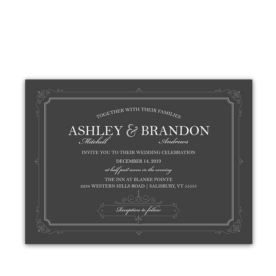 Industrial Chic Wedding Invitation Vintage Border Scrolls on Gray