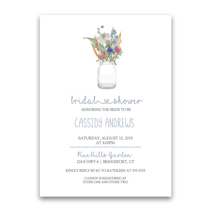 Mason Jar Bridal Shower Invitation Wildflowers Pale Blue