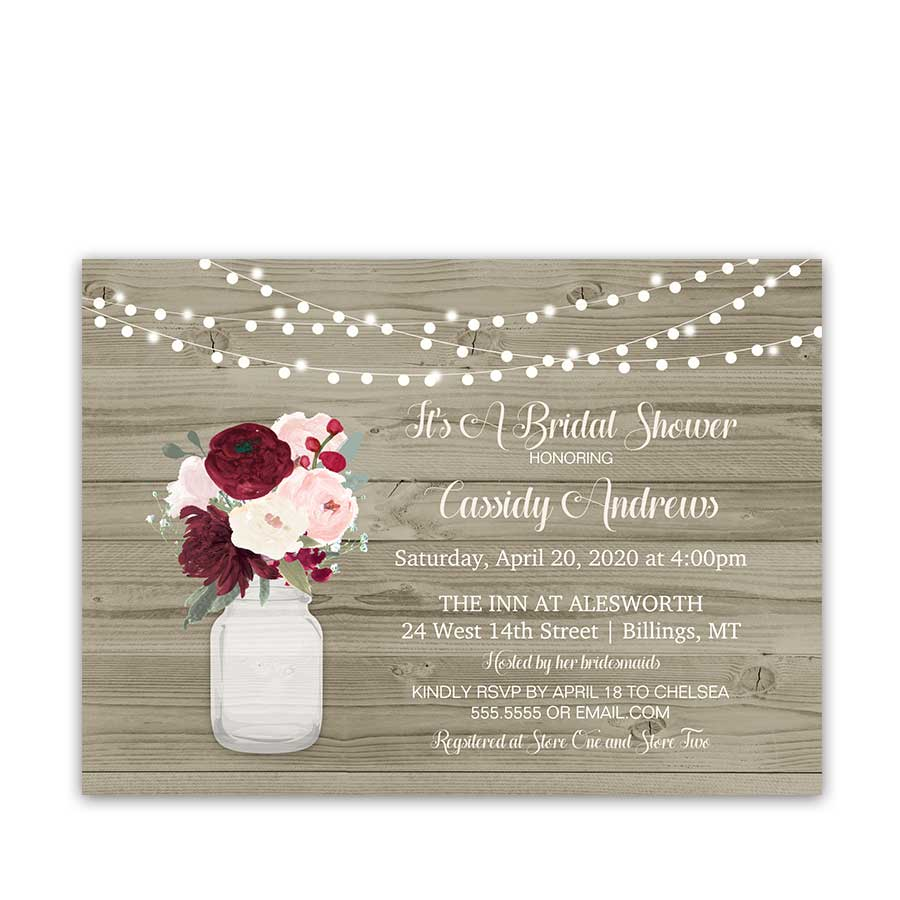 Rustic Mason Jar Burgundy Blush Bridal Shower Invitations