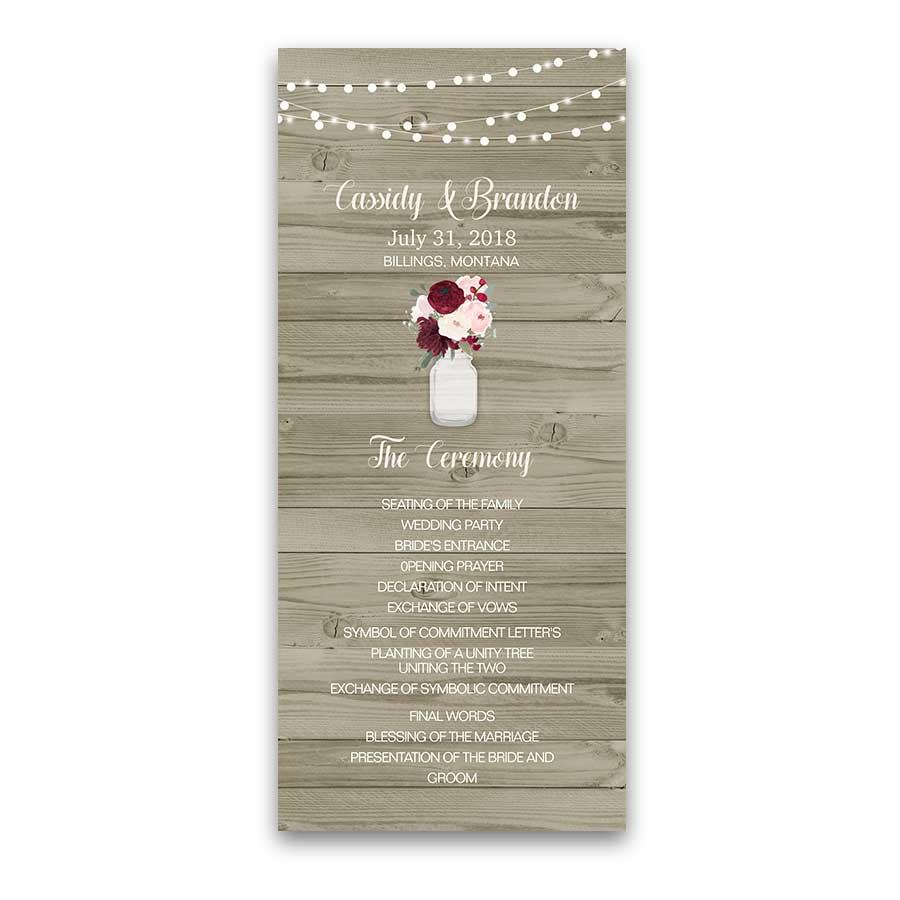 Rustic Mason Jar Wedding Program Burgundy Blush Floral
