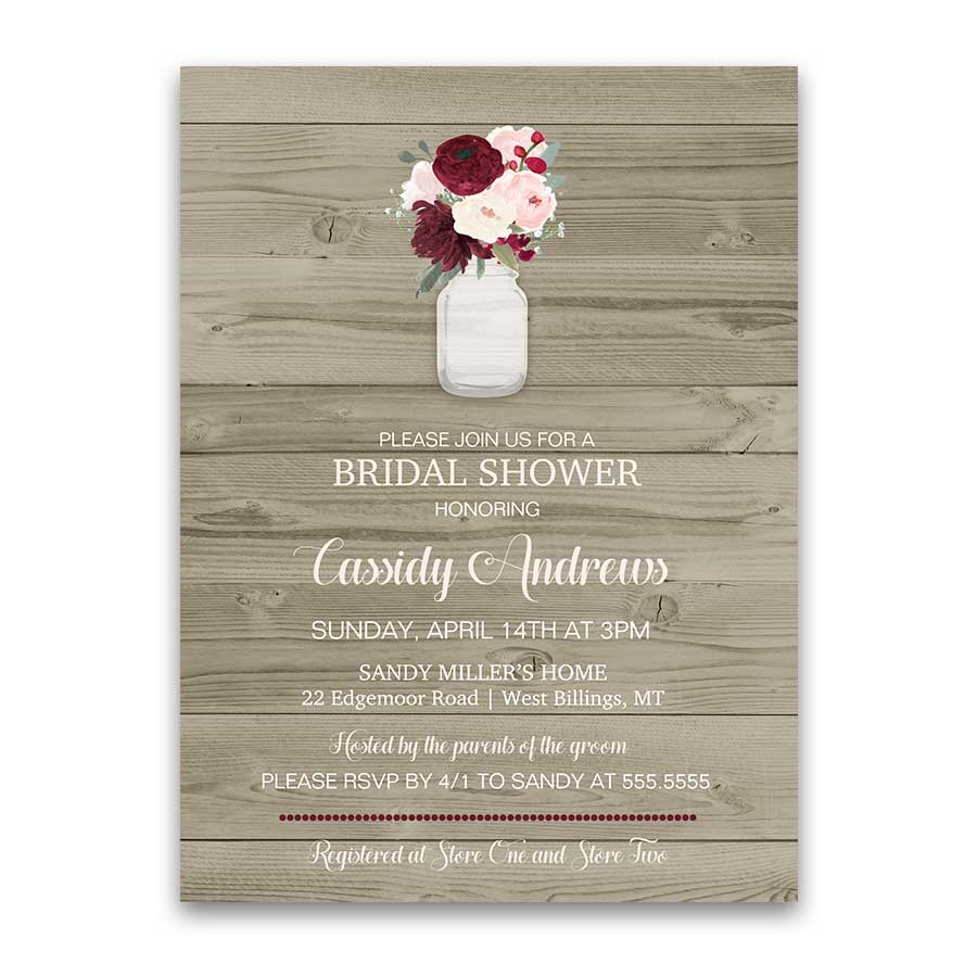 Rustic Mason Jar Burgundy Wine Bridal Shower Invitation