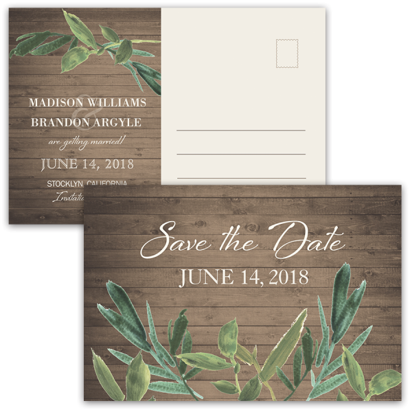 Rustic Barn Wood Greenery Save the Date Postcard
