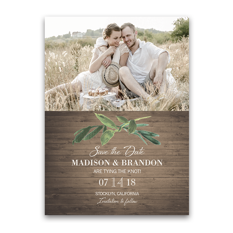 Rustic Photo Save the Date Barn Wood Greenery Cards