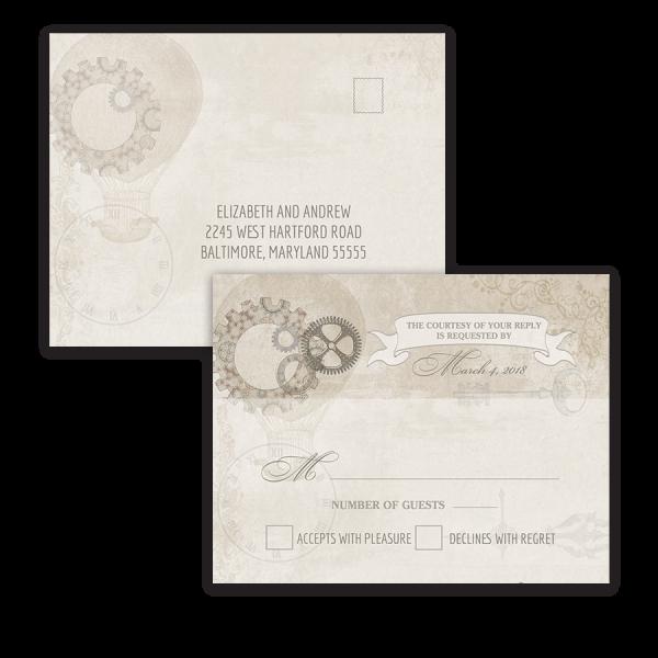 Steampunk Wedding Vintage Industrial Chic RSVP Postcard