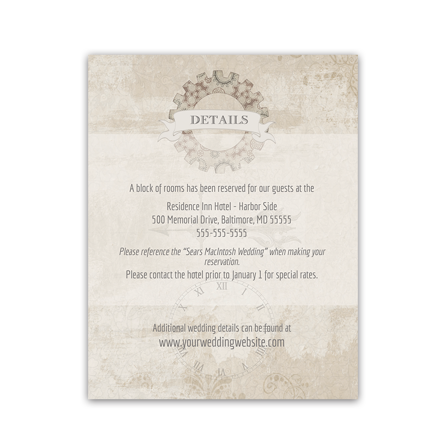 Steampunk Wedding Guest Accommodation Insert Cards