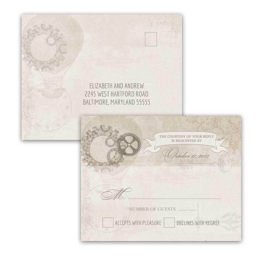Steampunk Wedding RSVP Postcard