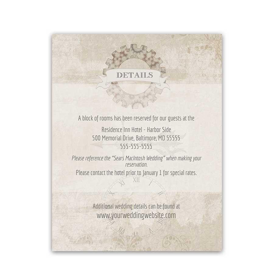 Steampunk Wedding Insert Cards