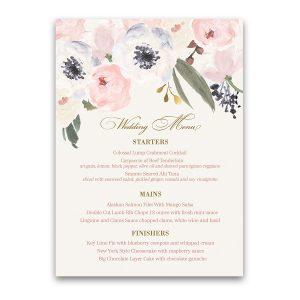 Blush Gold Watercolor Floral Boho Chic Wedding Menu