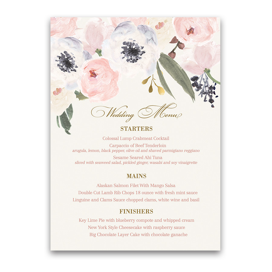 Custom menu archives noted occasions unique and custom wedding blush gold watercolor floral boho chic wedding menu mightylinksfo