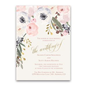 Blush Gold Watercolor Floral Boho Chic Wedding Invitations