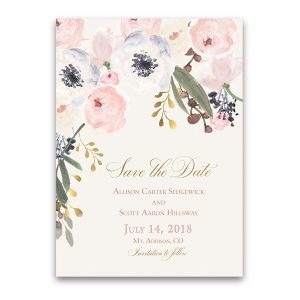 Blush Gold Floral Bohemian Wedding Save the Date