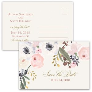 Blush Gold Floral Bohemian Save the Date Postcards