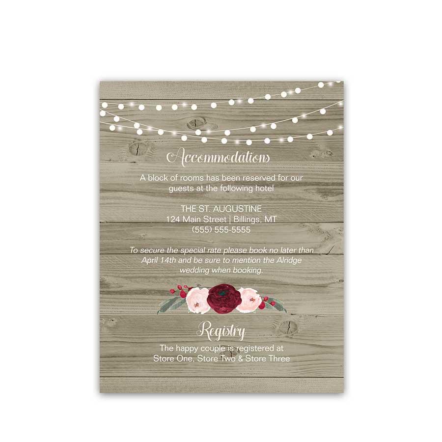 Floral Wedding Insert Card