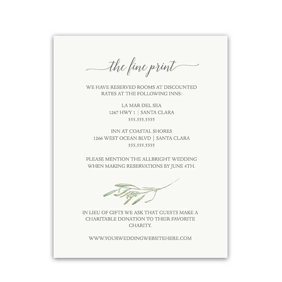 Guest Information Insert Card Greenery