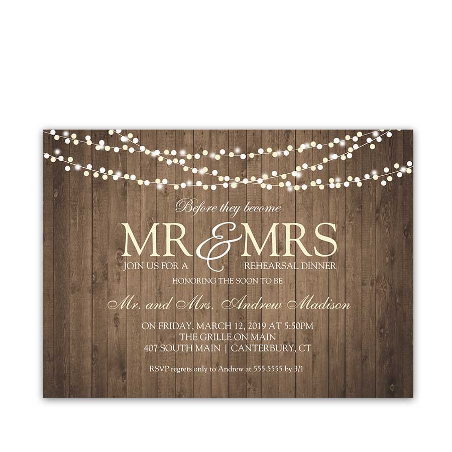 Rustic Wedding Rehearsal Dinner Invitation Barn Wood String Lights