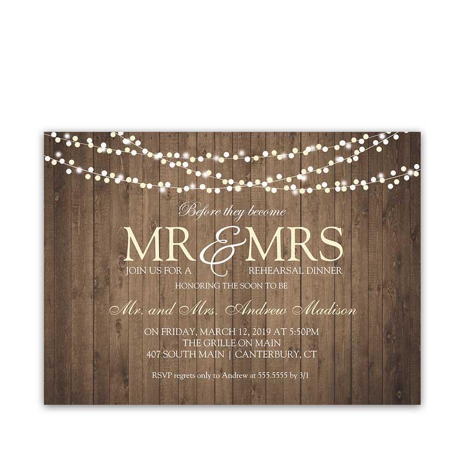 Rustic Wedding Rehearsal Dinner Invitation Barn Wood String Lights
