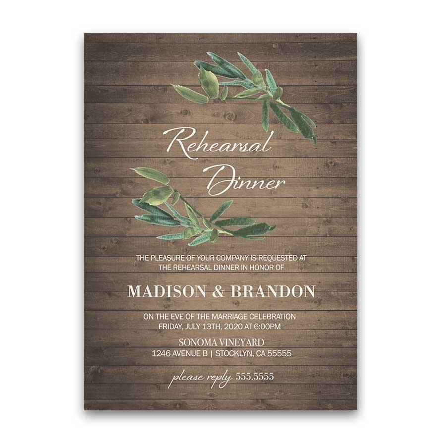 Rustic Wedding Rehearsal Dinner Invitation with Greenery