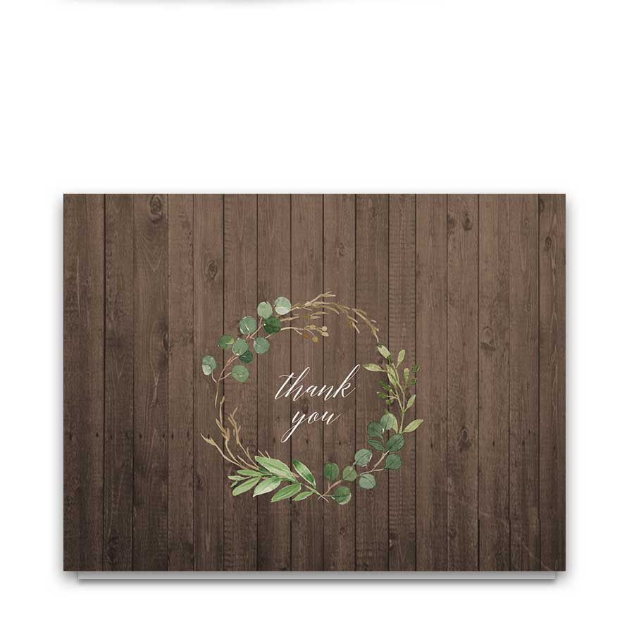 Winery Wedding Thank You Cards on Barn Wood
