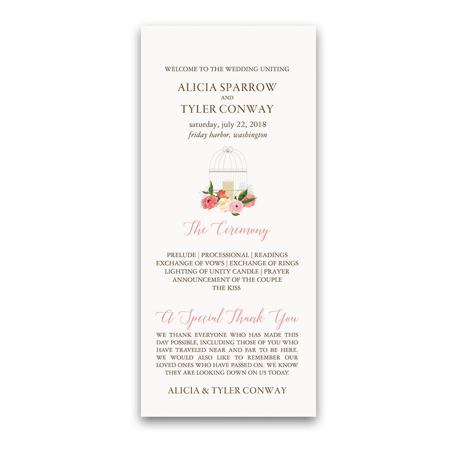 Birdcage Watercolor Florals Wedding Order of Service