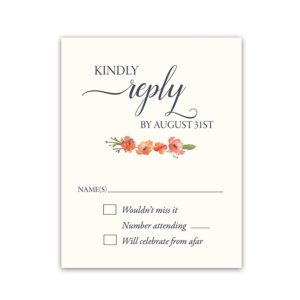Hand Painted Coral Navy Floral Wedding Response Cards
