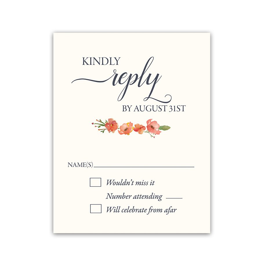 Wedding Response Cards: Hand Painted Coral Navy Floral Wedding Response Cards