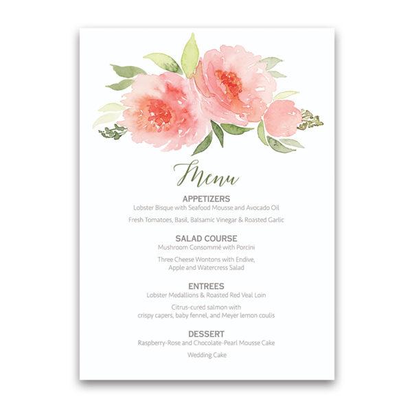 Coral Watercolor Floral Bohemian Wedding Menu