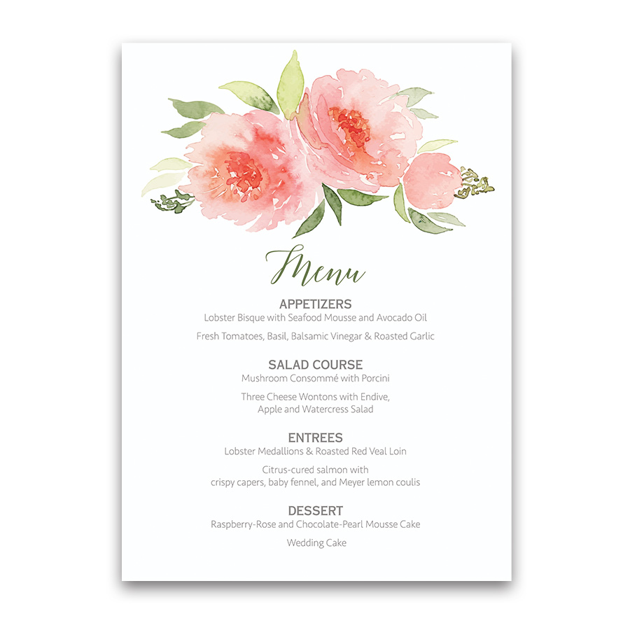 Coral watercolor floral bohemian wedding menu flowers coral watercolor floral bohemian wedding menu mightylinksfo