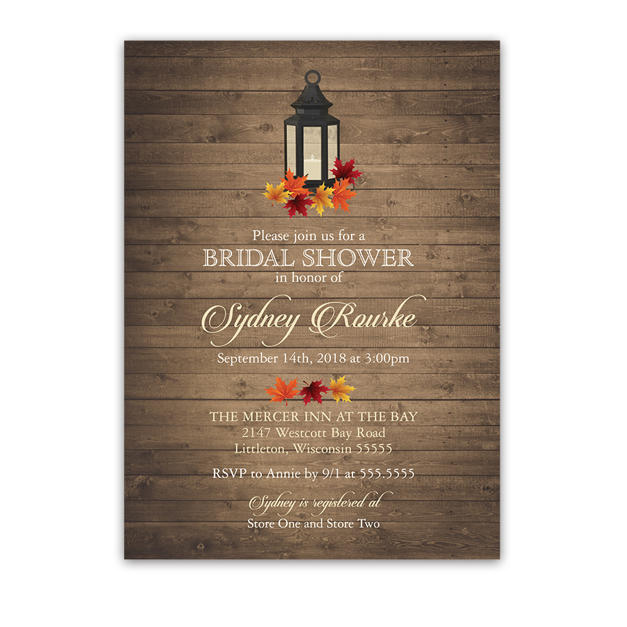 Rustic Bridal Shower Invitation Lantern Fall Leaves Barn Wood