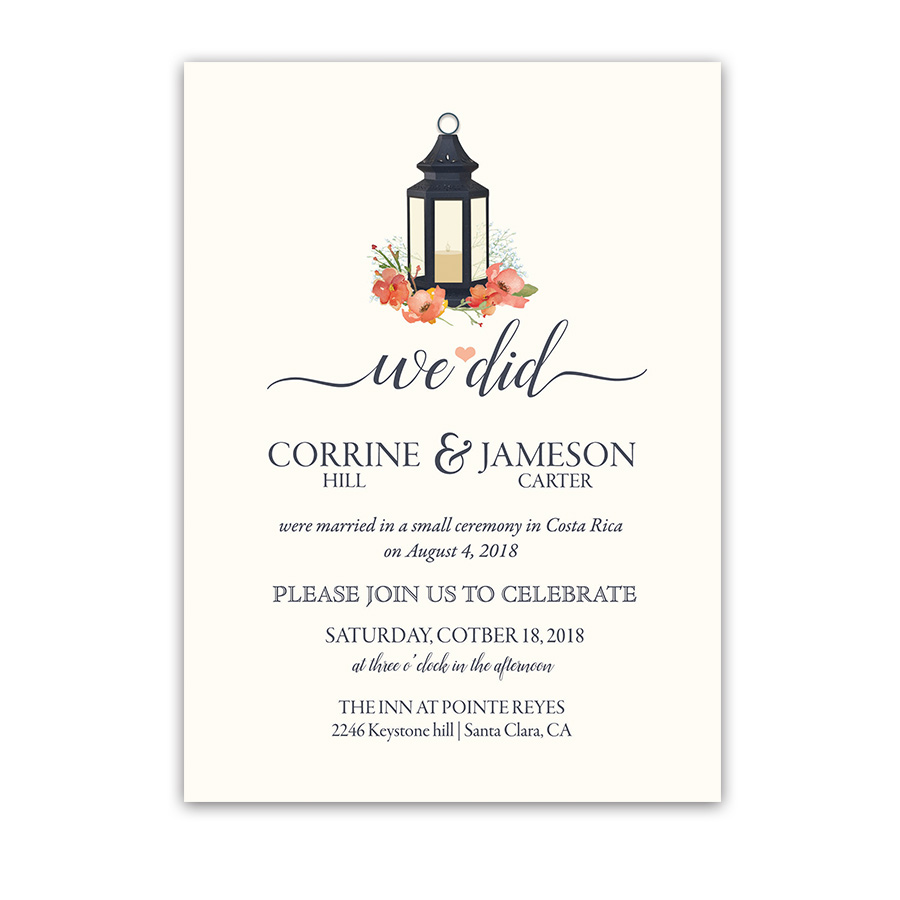 lantern wedding reception only coral floral invitations