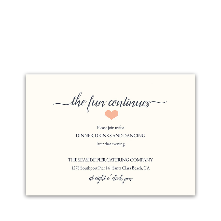 floral coral navy wedding reception details card