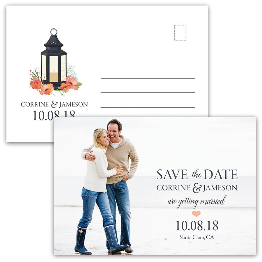 Rustic Metal Lantern Photo Save the Date Postcards