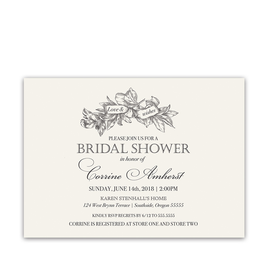 Elegant Bridal Shower Invitation Vintage Greenery Wreath