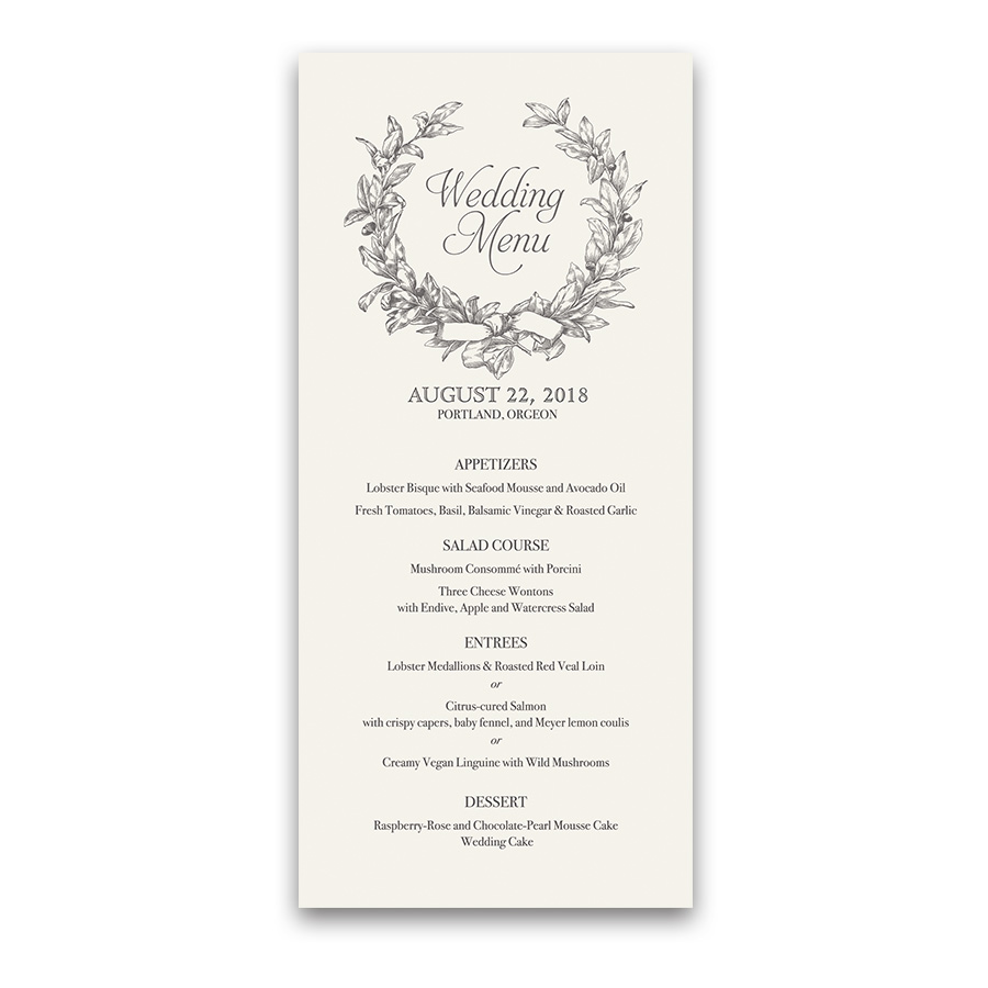 Vintage Wedding Menu Greenery Wreath Boho Chic Style