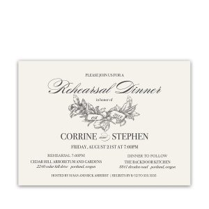 Vintage Greenery Wedding Rehearsal Dinner Invitation