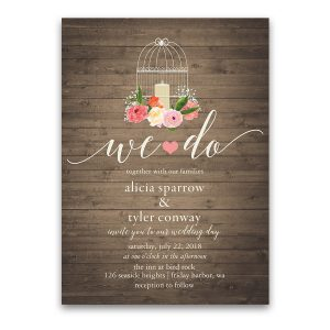 Watercolor Floral Rustic Birdcage Wedding Invitations