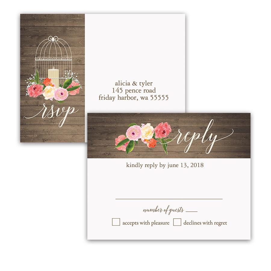 Watercolor Floral Rustic Birdcage Wedding Invitations