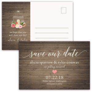 Rustic Floral Birdcage Wedding Save the Date Postcard
