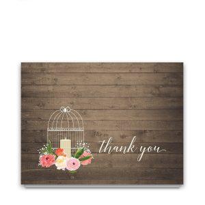 Watercolor Floral Birdcage Wedding Thank You Card