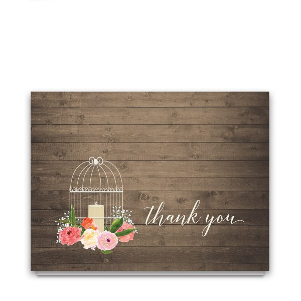 Watercolor Floral Birdcage Wedding Thank You Card