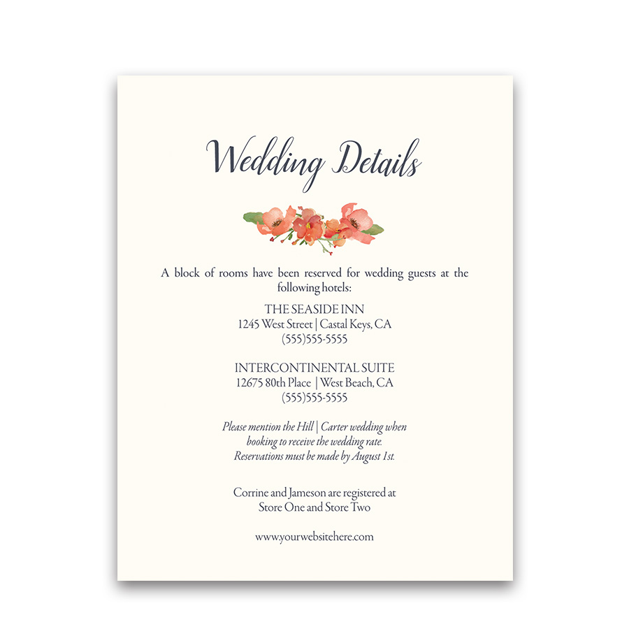 Watercolor Floral Wedding Guest Information Cards