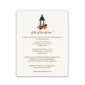 Rustic Fall Lantern Wedding Guest Information Cards