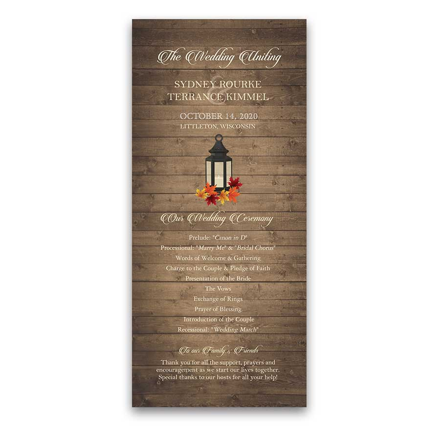 Rustic Fall Leaves Iron Lantern Wedding Program