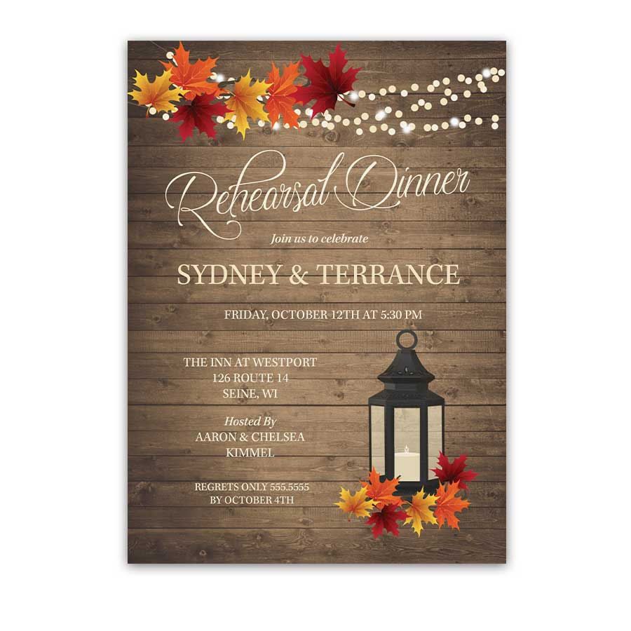 Fall Wedding Rehearsal Dinner Invite