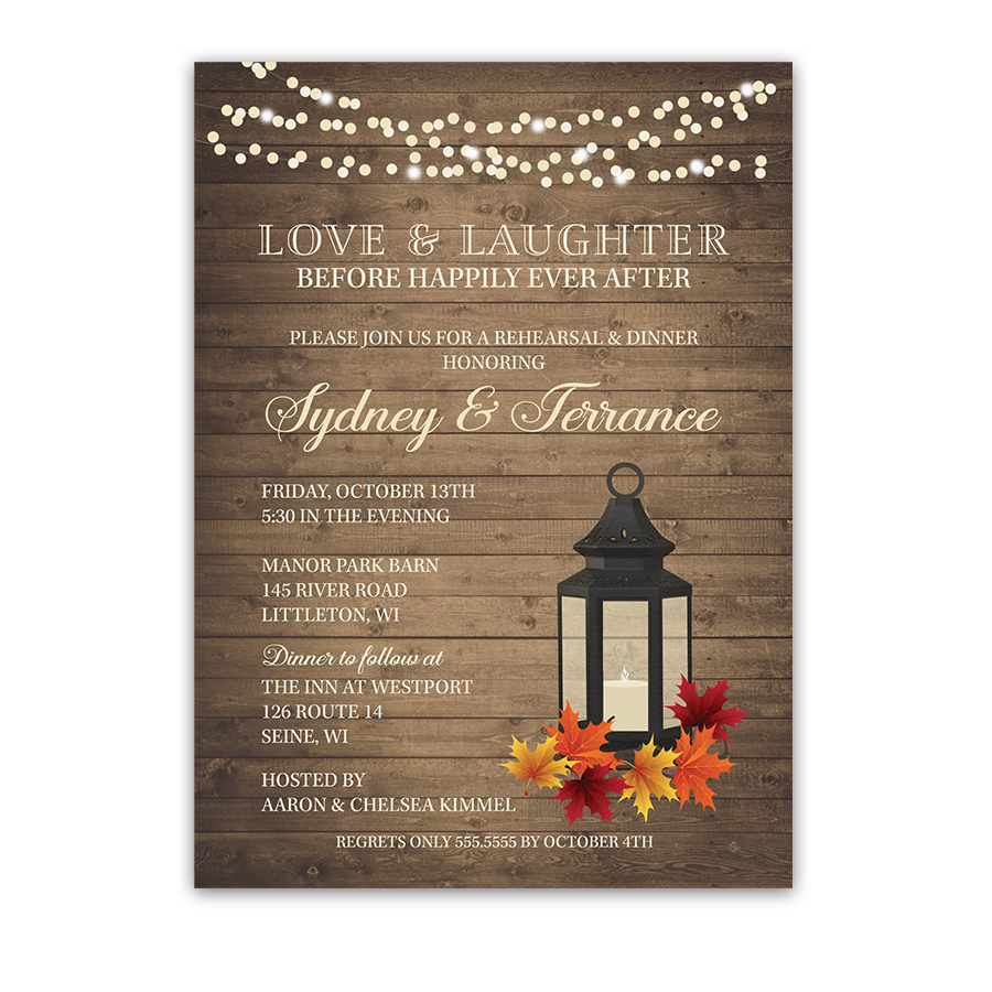 Fall Wedding Rehearsal Dinner Invite Metal Lantern Fall Leaves