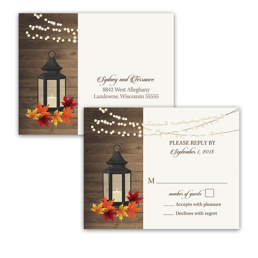 Rustic Fall Lantern Autumn Leaves Wedding RSVP Postcard