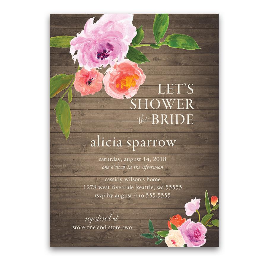Watercolor Floral Greenery Rustic Bridal Shower Invitations